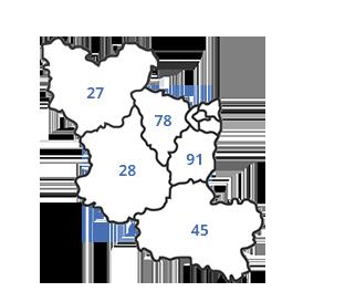 Carte de zones d'intervention d'Ambiance Party
